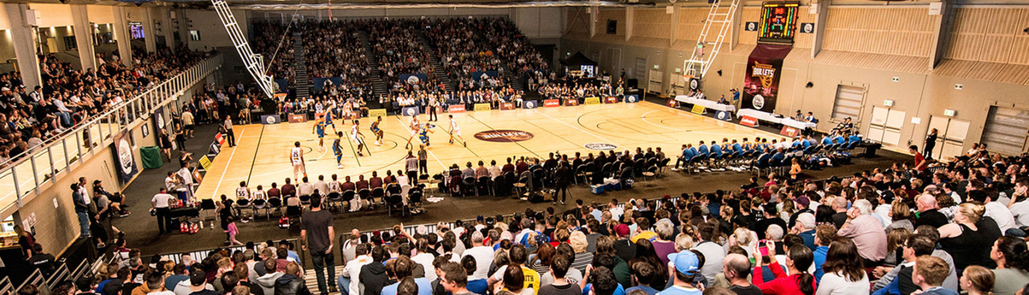 Crowd watches indoor basketball game