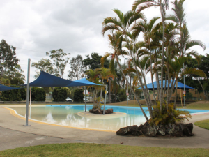 Outside pool area and seating areas