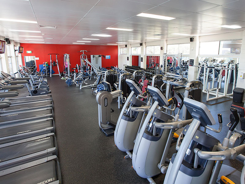 Walking machines in indoor gym