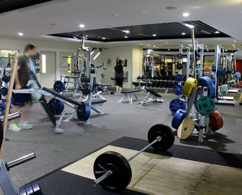 Weight work out area in an indoor gym