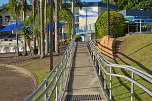 wheelchair ramp leading up to pool