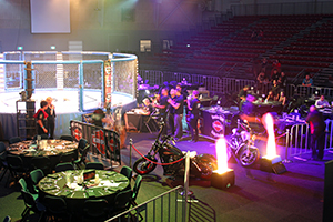 wrestling arena surrounded with performers