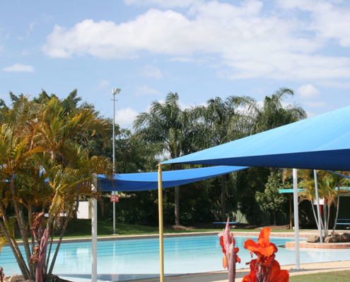 Outdoor pool with undercover areas